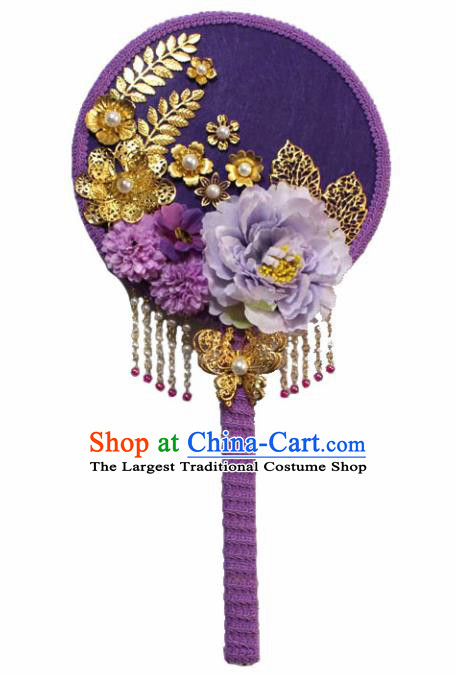 Chinese Traditional Purple Palace Fans Ancient Wedding Round Fans Jewelry Accessories for Women