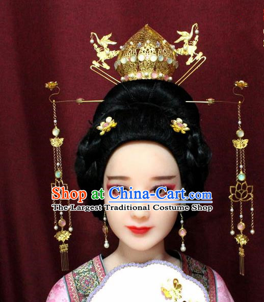 Chinese Ancient Tang Dynasty Wedding Hair Accessories Queen Lotus Phoenix Coronet Hairpins Complete Set for Women