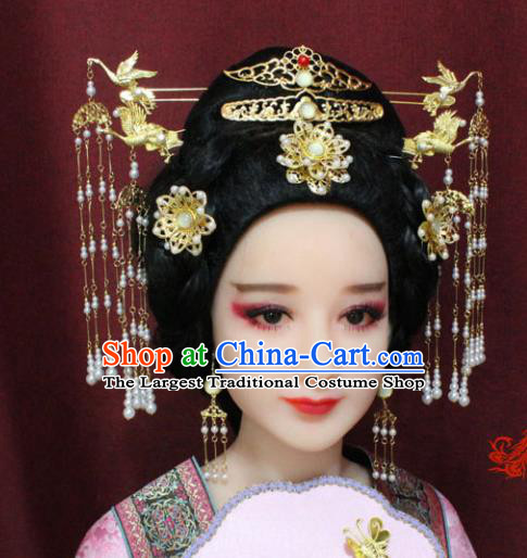 Chinese Ancient Tang Dynasty Wedding Hair Accessories Queen Tassel Step Shake Hairpins Complete Set for Women