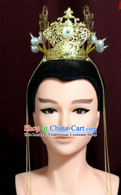 Chinese Traditional Classical Hair Accessories Ancient Nobility Childe Golden Hair Crown for Men
