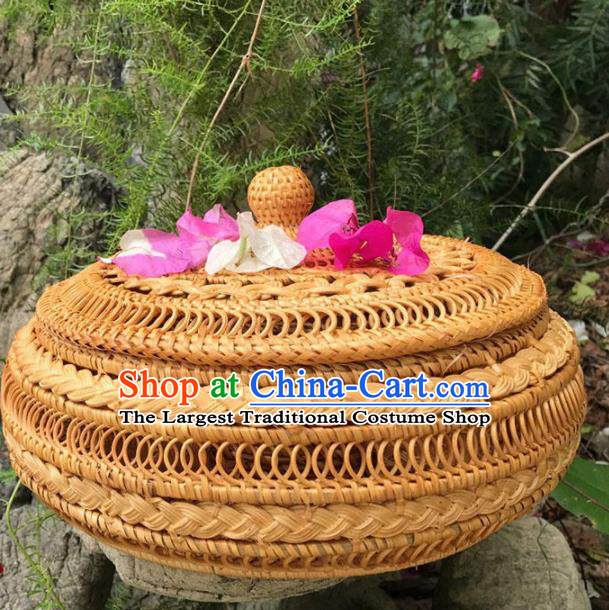 Asian Vietnamese Traditional Craft Rattan Basket Artware Straw Plaited Paper Box