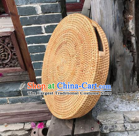 Asian Vietnamese Traditional Craft Rattan Saucer Artware Straw Plaited Paper Box
