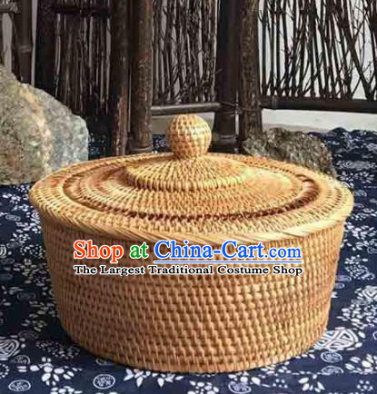 Asian Vietnamese Traditional Craft Rattan Bag Straw Plaited Storage Box