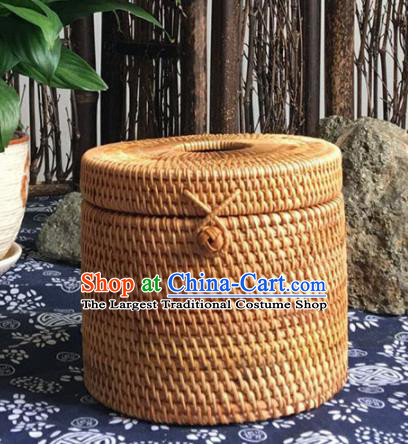Asian Vietnamese Traditional Craft Rattan Basket Straw Plaited Paper Suction Box