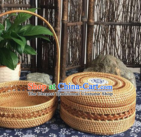 Asian Vietnamese Traditional Craft Rattan Cabas Basket Straw Plaited Food Box