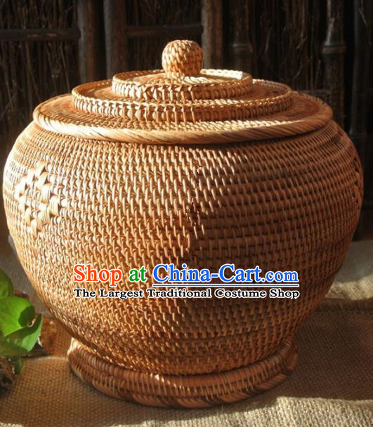 Asian Vietnamese Traditional Craft Rattan Tea Canister Straw Plaited Storage Box