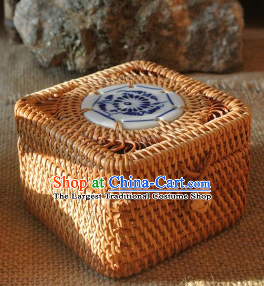 Asian Vietnamese Traditional Craft Rattan Tea Box Straw Plaited Storage Box