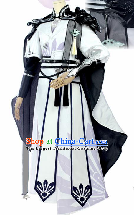 Chinese Traditional Cosplay Knight White Costumes Ancient Swordsman Clothing for Men