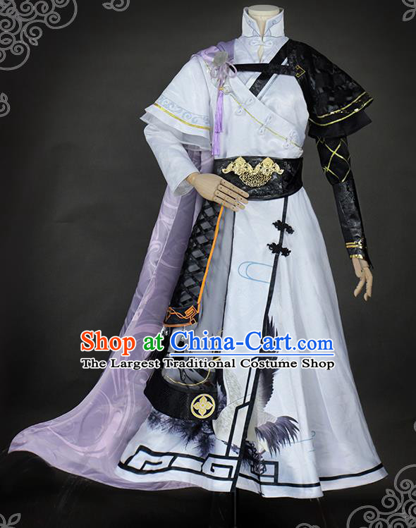 Chinese Traditional Cosplay Childe Knight White Costumes Ancient Swordsman Clothing for Men