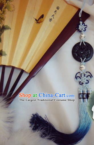Chinese Traditional Classical Waist Accessories Ancient Princess Blue Tassel Jade Pendant for Women