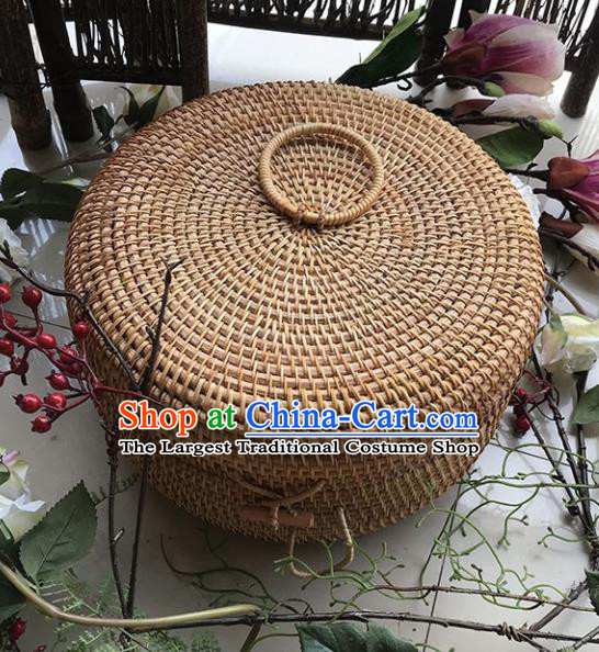 Asian Vietnamese Traditional Rattan Craft Artware Straw Plaited Tea Box