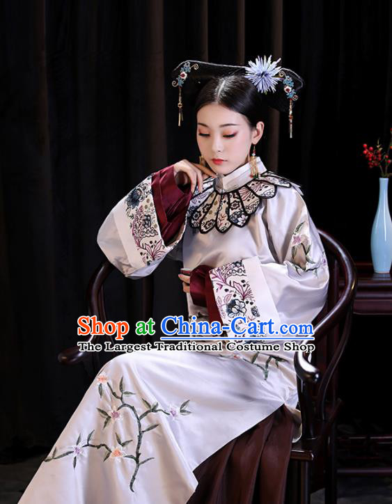 Chinese Ancient Palace Lady Embroidered Dresses Qing Dynasty Drama Manchu Imperial Consort Costumes and Headpiece Complete Set
