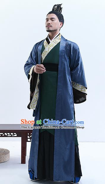 Chinese Ancient Drama Swordsman Costume Traditional Qin Dynasty Emperor Costumes for Men