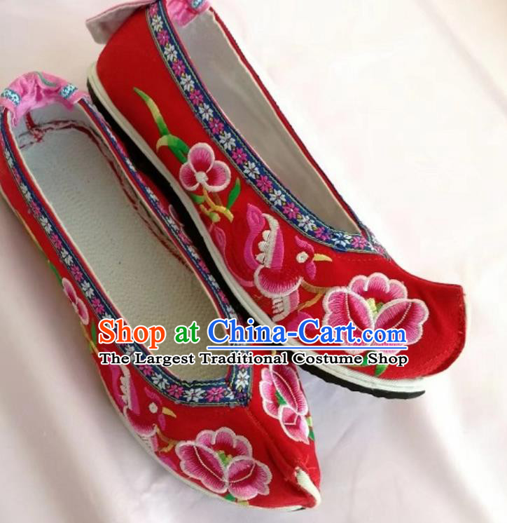 Chinese Traditional Hanfu Red Shoes Embroidered Shoes Handmade Cloth Shoes for Women