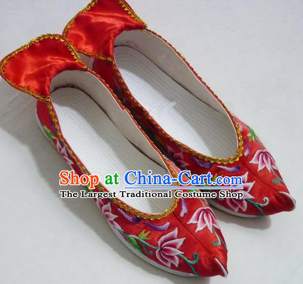 Chinese Traditional Hanfu Wedding Shoes Ancient Princess Red Embroidered Shoes Handmade Shoes for Women
