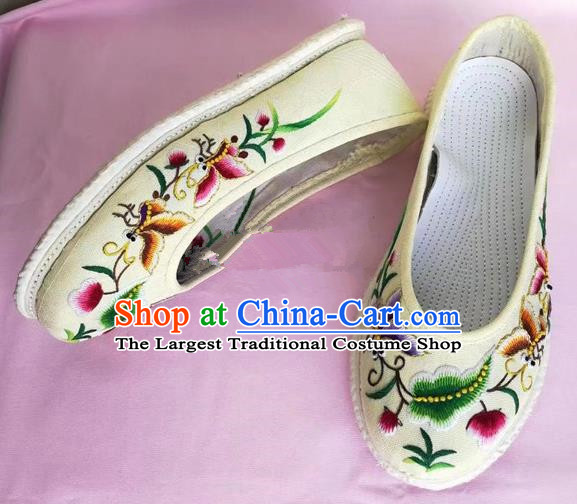 Chinese Traditional Hanfu Shoes Embroidered Butterfly Shoes Handmade Cloth Shoes for Women