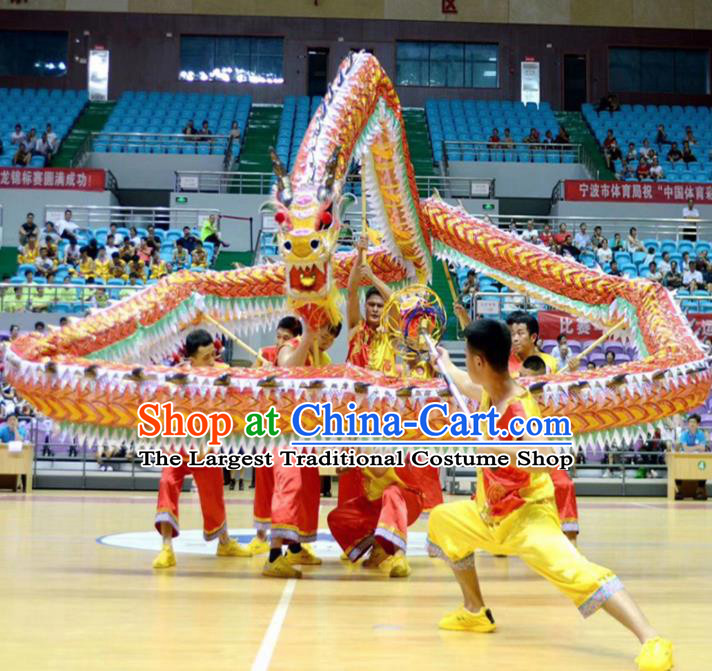 World Dragon Dance Competition Yellow Dragon Head Dragon Dance Costumes Complete Set for Adult