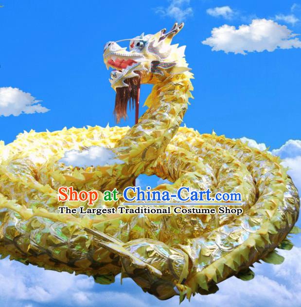 Chinese Folk Dance Dragon Dance Competition Yellow Dragon Head Traditional Dragon Dance Costumes Complete Set for Adult