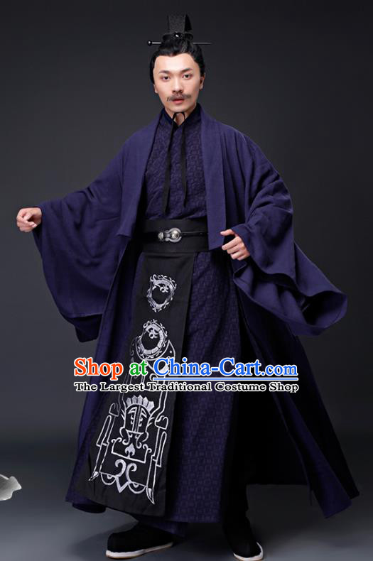 Chinese Ancient Drama Han Dynasty Prime Minister Embroidered Costumes for Men