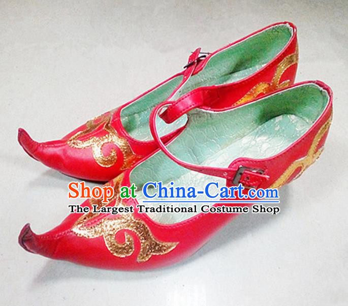 Chinese Ethnic Folk Dance Red Shoes Traditional National Uyghur Nationality Shoes for Women