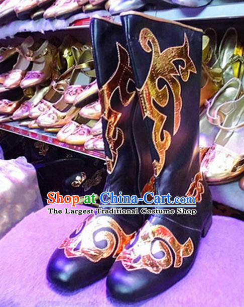 Chinese Ethnic Folk Dance Shoes Traditional National Uyghur Nationality Black Boots for Men