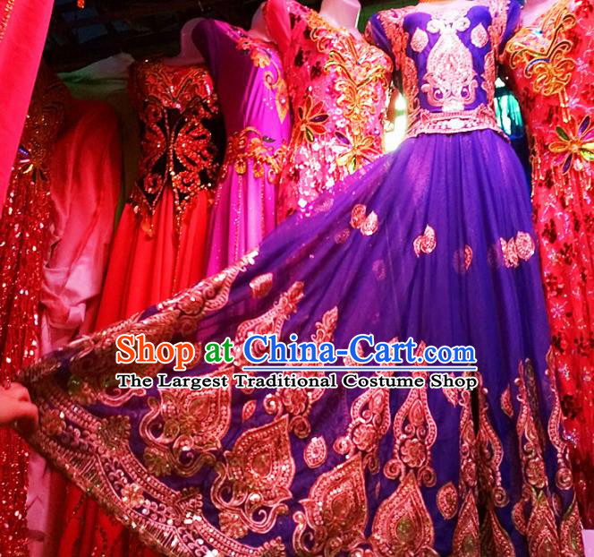 Chinese Ethnic Costumes Folk Dance Royalblue Dress Traditional National Uyghur Nationality Clothing for Women