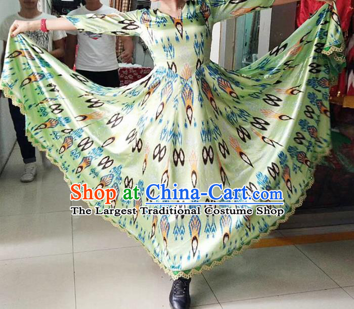 Chinese Ethnic Costumes Folk Dance Green Dress Traditional National Uyghur Nationality Clothing for Women