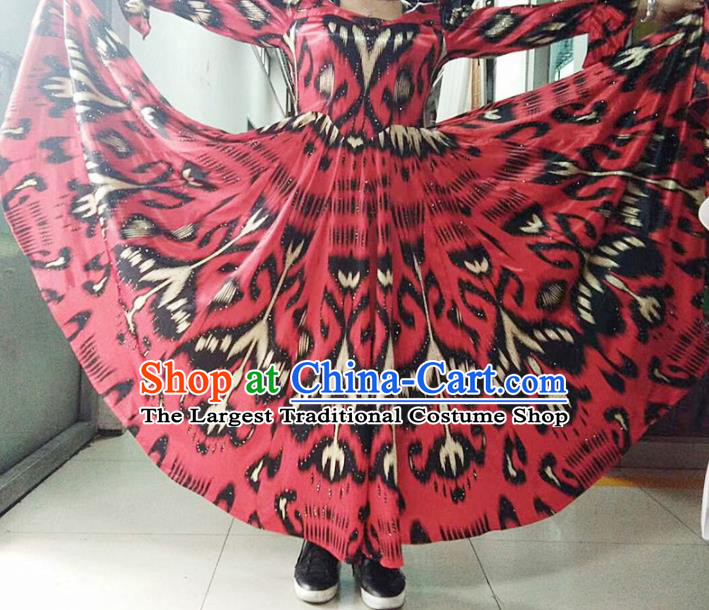 Chinese Ethnic Costumes Folk Dance Red Dress Traditional National Uyghur Nationality Clothing for Women