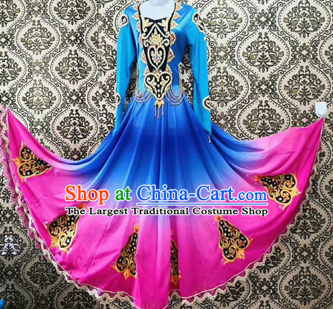 Chinese Ethnic Folk Dance Blue Dress Traditional National Uyghur Nationality Costumes for Women