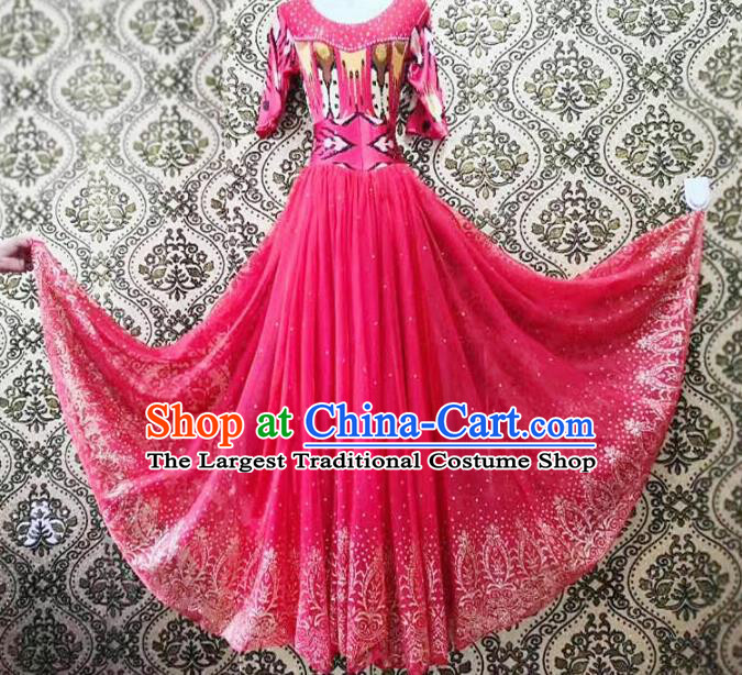 Chinese Ethnic Folk Dance Watermelon Red Dress Traditional National Uyghur Nationality Costumes for Women