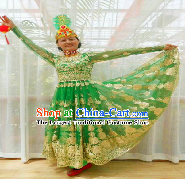 Chinese Ethnic Folk Dance Green Dress Traditional National Uyghur Nationality Costumes for Women