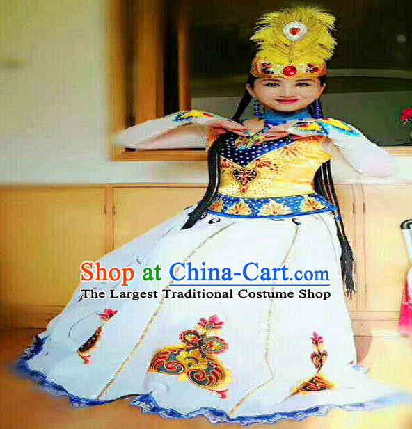 Chinese Ethnic Folk Dance Embroidered White Dress Traditional National Uyghur Nationality Costumes for Women