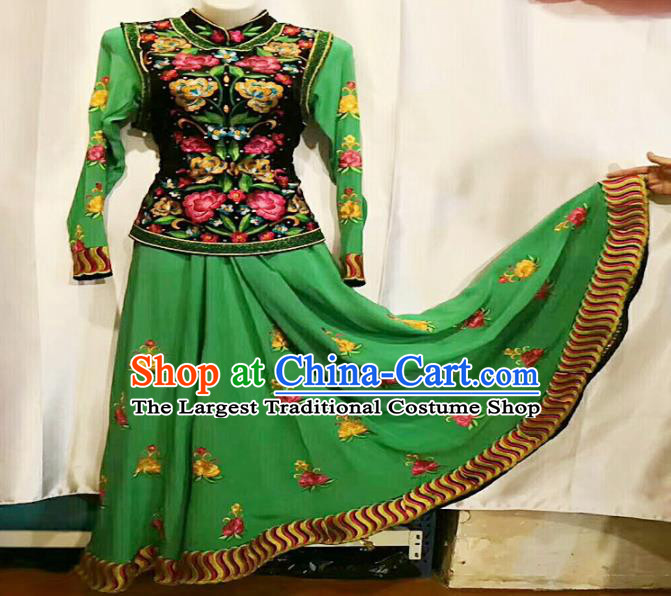 Chinese Ethnic Folk Dance Embroidered Green Dress Traditional National Uyghur Nationality Costumes for Women