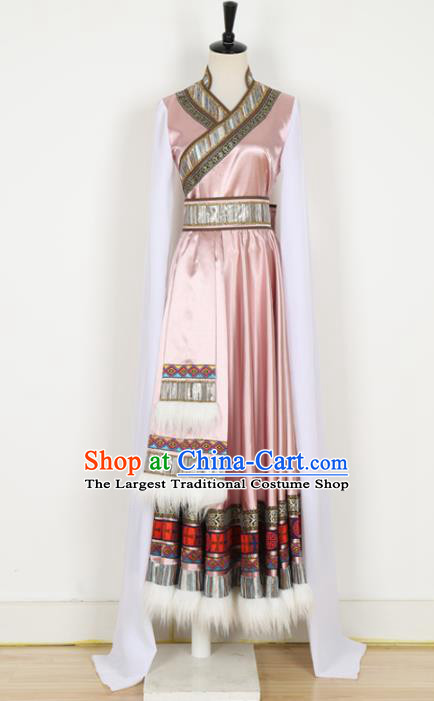 Chinese Tibetan Ethnic Minority Pink Dress Traditional Zang Nationality Folk Dance Costume for Women