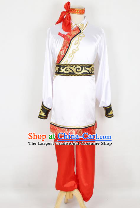 Chinese Traditional Mongolian Folk Dance Clothing Classical Dance White Costume for Men