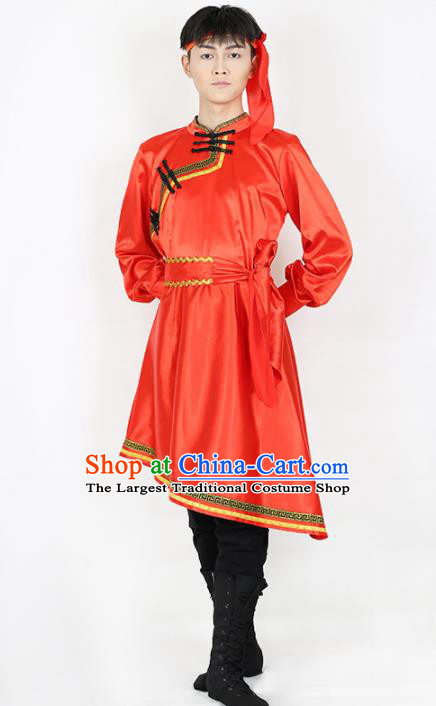 Chinese Traditional Mongolian Folk Dance Red Clothing Classical Dance Costume for Men