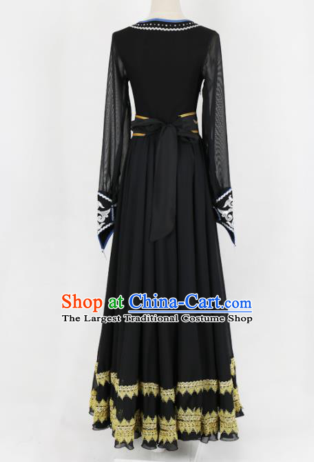 Chinese Mongolian Ethnic Minority Black Dress Traditional Nationality Folk Dance Costume for Women
