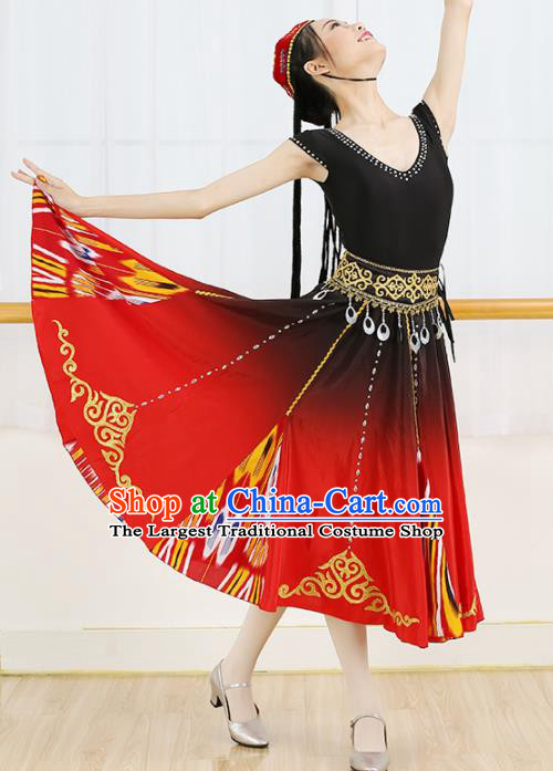 Chinese Ethnic Minority Dress Traditional Uyghur Nationality Folk Dance Costume for Women