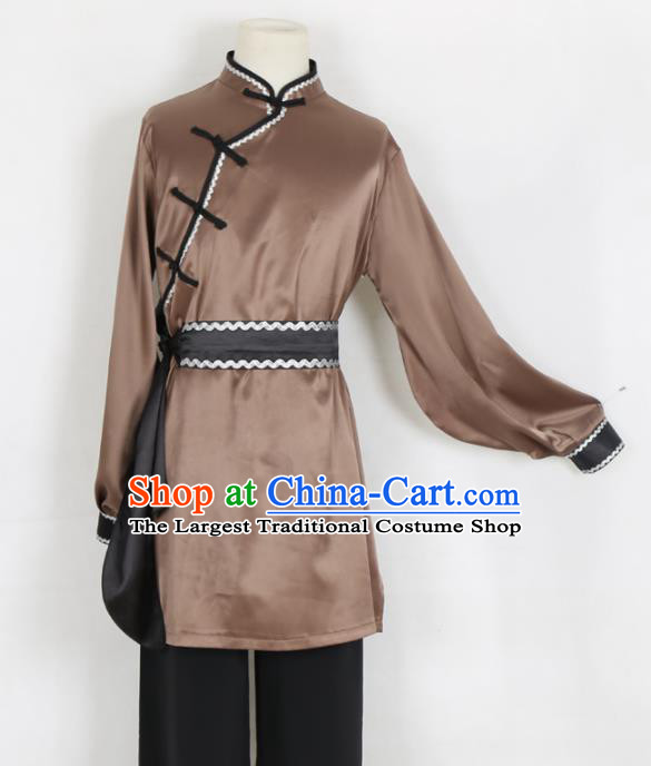 Chinese Traditional Mongolian Folk Dance Clothing Classical Dance Brown Costume for Men