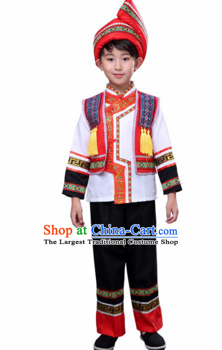 Chinese Traditional Zhuang Nationality Folk Dance Clothing Ethnic Dance Embroidered Costumes for Kids