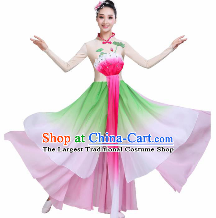 Chinese Traditional Folk Dance Green Costumes Classical Dance Lotus Dance Clothing for Women