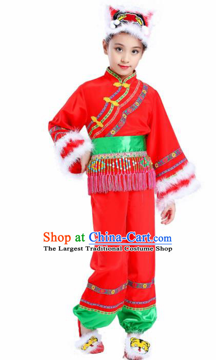 Chinese Traditional Yanko Dance Folk Dance Clothing Classical Dance Red Costumes for Kids
