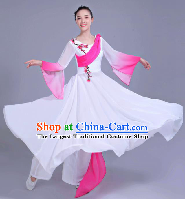 Chinese Traditional Folk Dance Costumes Classical Dance Umbrella Dance White Dress for Women