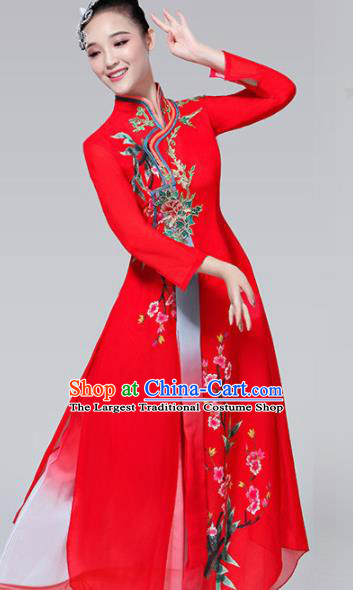 Chinese Traditional Folk Dance Costumes Classical Dance Umbrella Dance Red Dress for Women