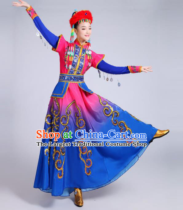 Chinese Traditional Mongolian Minority Folk Dance Blue Dress Mongols Ethnic Dance Costumes for Women