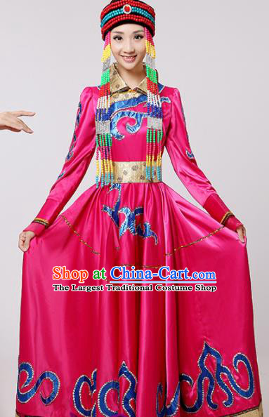 Chinese Traditional Mongolian Minority Folk Dance Rosy Dress Mongols Ethnic Dance Costumes for Women