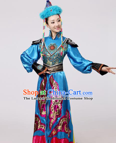 Chinese Traditional Mongolian Minority Blue Dress Mongols Ethnic Folk Dance Costumes for Women