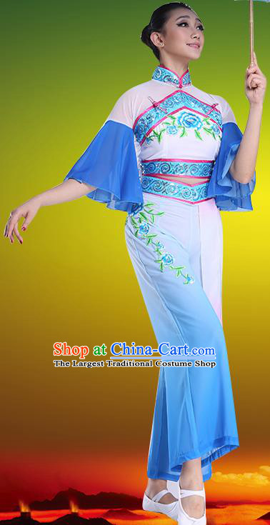 Chinese Traditional Folk Dance Blue Clothing Classical Dance Umbrella Dance Costumes for Women