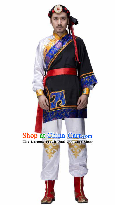 Chinese Traditional Mongolian Minority Folk Dance Clothing Mongols Ethnic Dance Costumes for Men