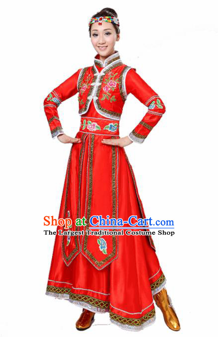 Chinese Traditional Mongolian Minority Folk Dance Red Dress Mongols Ethnic Dance Costumes for Women